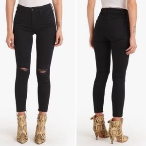 Mother The Looker Ankle Fray Jeans Black Sz 27